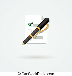 Vector paper with pen icon.