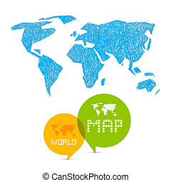 World map flat icon on blue background vector illustration vector vector paper world map illustration on blue background gumiabroncs Image collections