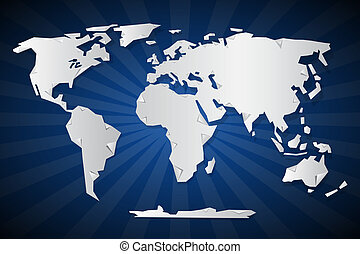 Vector Paper World Map Illustration on Blue Retro Background