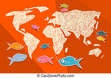Vector Paper World Map Illustration with Fish on Red Background
