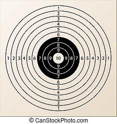 vector, papier, doel, geweer