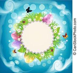 vector, para, pascua, con, un, redondo, tarjeta, para, texto, huevos, pasto o césped, y, flores, alrededor, en, un, plano de fondo, de, cielo azul, y, nubes
