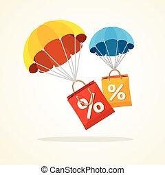 Vector parachute with paper bag sale. Flat Design - Vector...