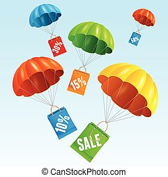 Vector parachute with paper bag sale in the sky