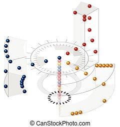 vector, paraphrase, de, datos, almacenes, en, isométrico, perspective., clasificación, data.