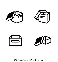 vector parcel box, open box icons