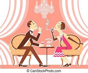 vector, pareja, de, hombre y mujer, en, vendimia, ilustración