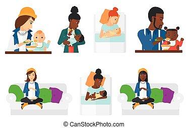 vector, parenthood., conjunto, embarazo
