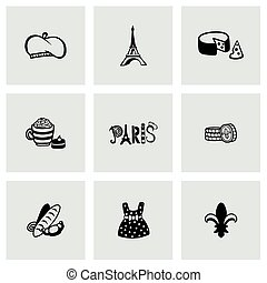 Vector Paris icon set on grey background