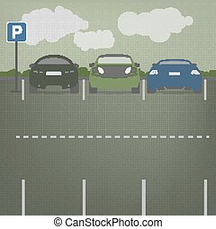Vector parking lot - Car parking vector graphic in modern...