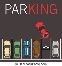 Vector parking lot illustration. Car and transportation, auto park, empty row/ car top view