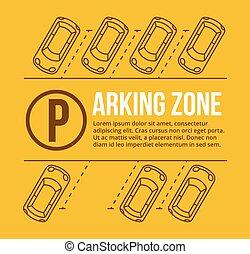 Vector parking lot illustration. Car and transportation,...