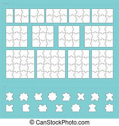 vector, partes, de, papel, rompecabezas, conjunto