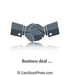 Vector Partnership, Businessman handshake black icon color, silhouette with reflection over white and text Business deal in flat style