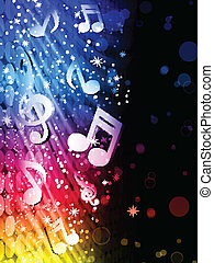 Vector - Party Abstract Colorful Waves on Black Background with Music Notes