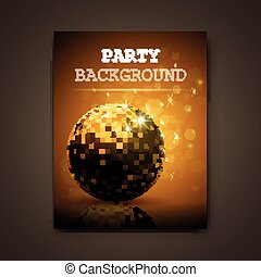 Vector Party Background - Vector Illustration of a Golden...