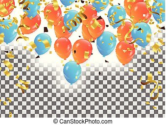 vector party background with confetti and balloons