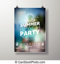 Party Flyer poster template on Summer Beach theme with abstract shiny background.