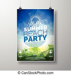 Party Flyer poster template on Summer Beach theme with abstract shiny background