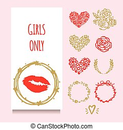 Vector party greeting or invintation card with red lipstic stamp in golden wreath. Set of decorative elements: hand drawn frames, wreath, rose, hearts