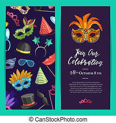 Vector party invitation template with masks and party accessories