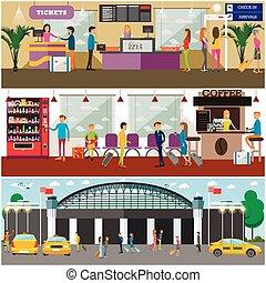 vector, pasajeros, concepto, aeropuerto, Conjunto, diseño,...