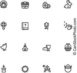 vector, pasen, pictogram, set