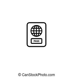 Vector Passport icon. Icon on a blue background. Isolated on white background.