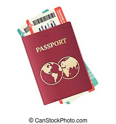 Vector passport with tickets.