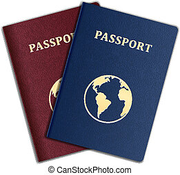 Passport - Vector Passports with map isolated on white...