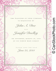 Vector Pastel Floral Background and Ornate Frame
