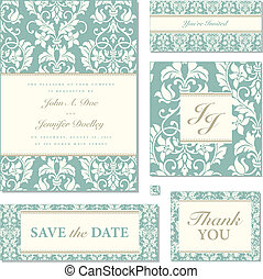 Vector Pastel Florals Wedding Frame Set - Set of ornate...