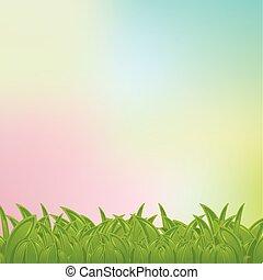 vector, pastel, frame, achtergrond, gras