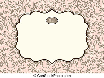 Vector Pastel Ivy Background and Ornate Frame