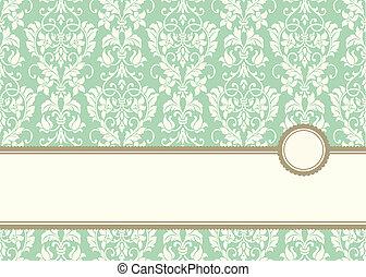 vector, pastel, spandoek, frame, en, achtergrond