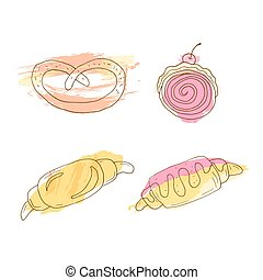Vector pastry illustration. Set of hand drawn croissants with colorful watercolor splashes.