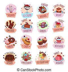 Vector pastry shop desserts cakes ice cream icons - Pastry...