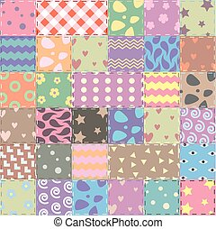 vector patchwork handicraft fabric background in shabby chic...