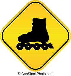 vector, patines, rodillo, señal