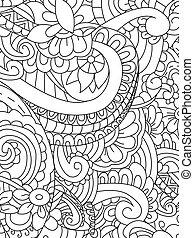 vector, patrón, colorido, flor, adultos