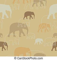 vector, patrón, con, elefantes