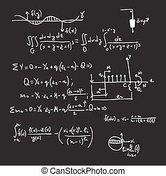 vector, patrón, con, matemático, fórmulas