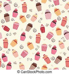 vector, patrón, cupcakes, seamless, ilustración