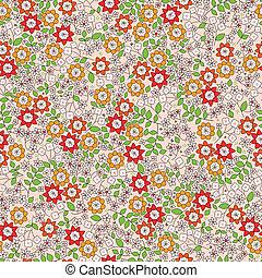 vector, patrón, flores, seamless