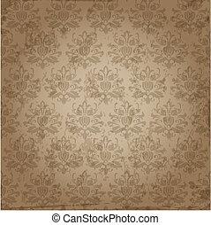 vector, patrón, papel pintado, seamless, damasco