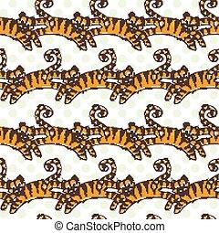 vector, patrón, saltar, seamless, tigers.