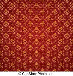 vector, patrón, seamless, papel pintado, rojo