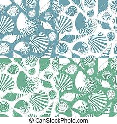 vector, patrones, shells., conjunto