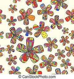 Vector Pattern 60s. Seamless Background Inspired Flower...