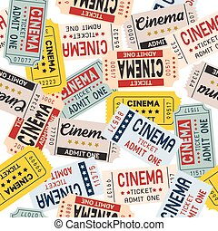 Vector pattern cinema ticket retro style for present paper and print on fabric set 4